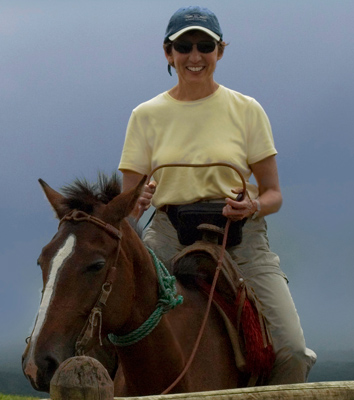 Roz on horse in the Galapagos